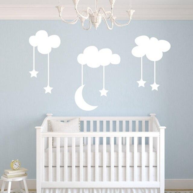 Lune étoiles Bébé Pépinière Vinyle Stickers Muraux, Grand 220*140 Cm Blanc  Ciel Bleu