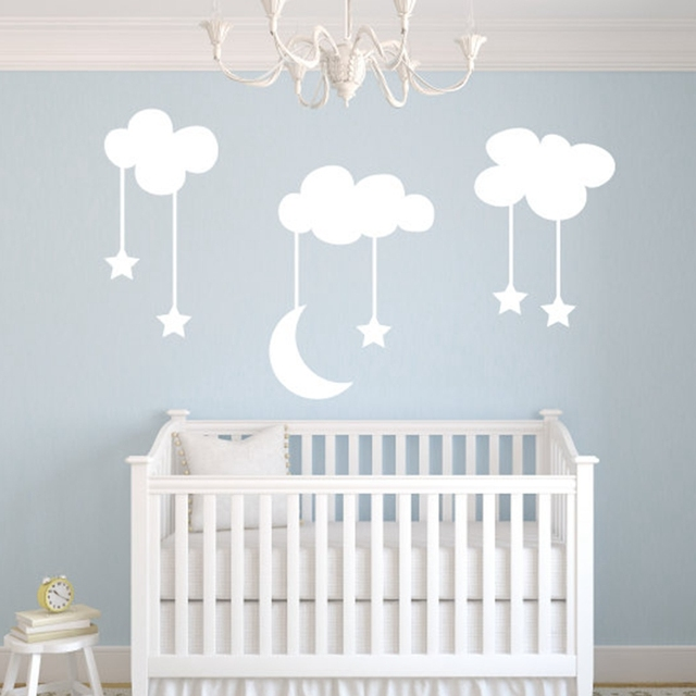 Moon Stars Baby Nursery Vinyl Wall Stickers Large 220