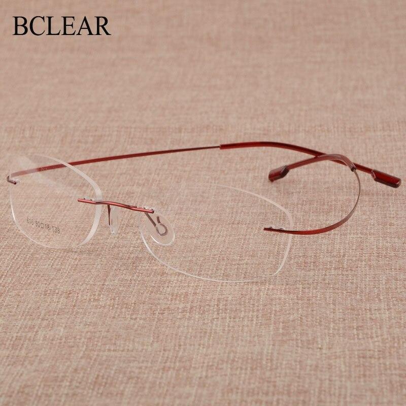 BCLEAR Rimless Titanium Alloy Eyeglasses Frames Women Flexible Optical Frame Prescription Spectacle Frameless Eye Glasses