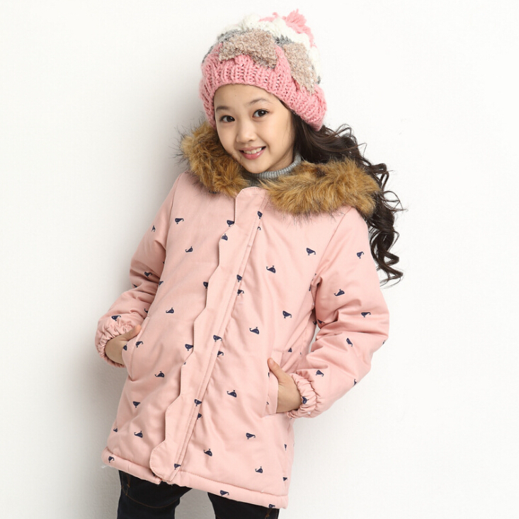 New Winter Girls Coats Fur Hooded Collar Children Cotton-padded Jackets Long Style Girls Outerwear Kids Parkas Coats for 4-9Y
