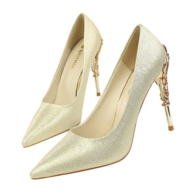BIGTREE women pumps Silk Scrub Wedding shoes Gold Bridal shoes metal Openwork 10CM Thin High-heeled Suede Pointed women's shoes