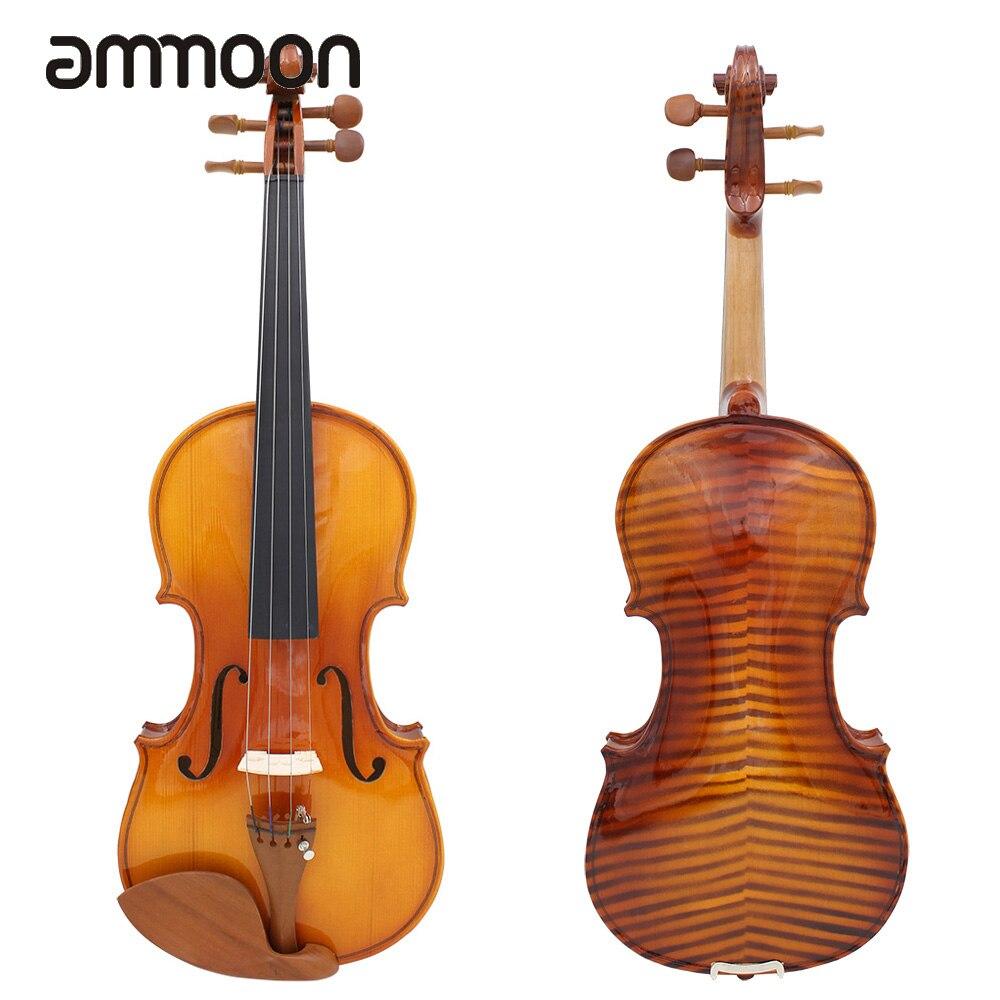 Full Size 4 4 Violin Fiddle Natural Acoustic Violin Solid Wood Spruce Flame Maple Veneer Jujube