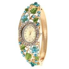 2017 top brand luxury Women's Watch Fashion Crystal Flower Bangle Bracelet Watch 6 Colors Analog Quartz Watch