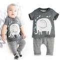 2 pcs Conjuntos de Roupas de Moda Bebê de Algodão Recém-nascidos Roupas de Impressão de Manga Curta Conjunto Infantil Menino Traje BodySuit Menina Calças T-shirt
