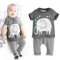 2 unids Bebé Recién Nacidos Conjuntos de Ropa de Moda de Impresión de Algodón de Manga Corta Trajes Set Traje Infantil Niño Niña Mono de La Camiseta Pantalones