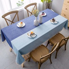 Tassel Stripe Tablecloth Cotton Kitchen Decorative End Table Cloth Rectangular Tablecloths Dining Table Cover Picnic Blanket
