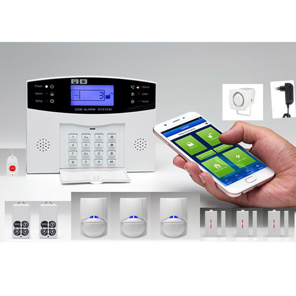 где купить Wireless Door Sensor Home Security GSM Alarm System LCD Display Remote Control Siren Kit LCC77 дешево