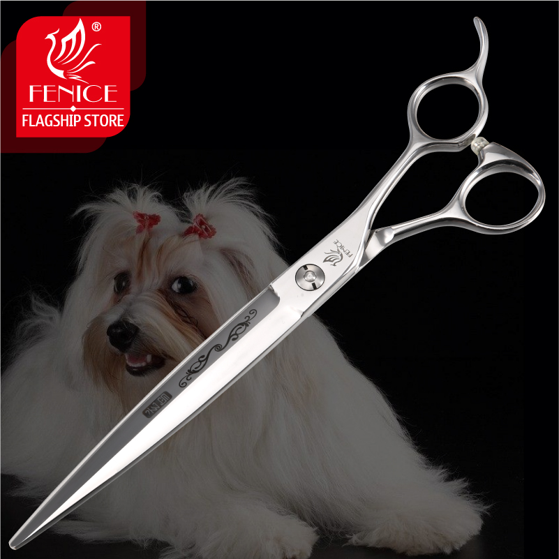 Fenice 7.25 inch Professional Pet Grooming Scissors for Dogs Flower Pattern Cutting Shears Japan 440c Pets Trimming Scissors