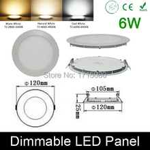 High quality dimmable 6W LED panel light round LED Recessed ceiling painel light fixtures 4000K for bathroom luminaire lamp