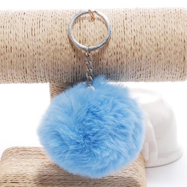 simple key chain Fur ball Pompon Keychain Pompom Artificial Rabbit Fur Animal Keychains For Woman Car Bag KeyRing 14 colors 3