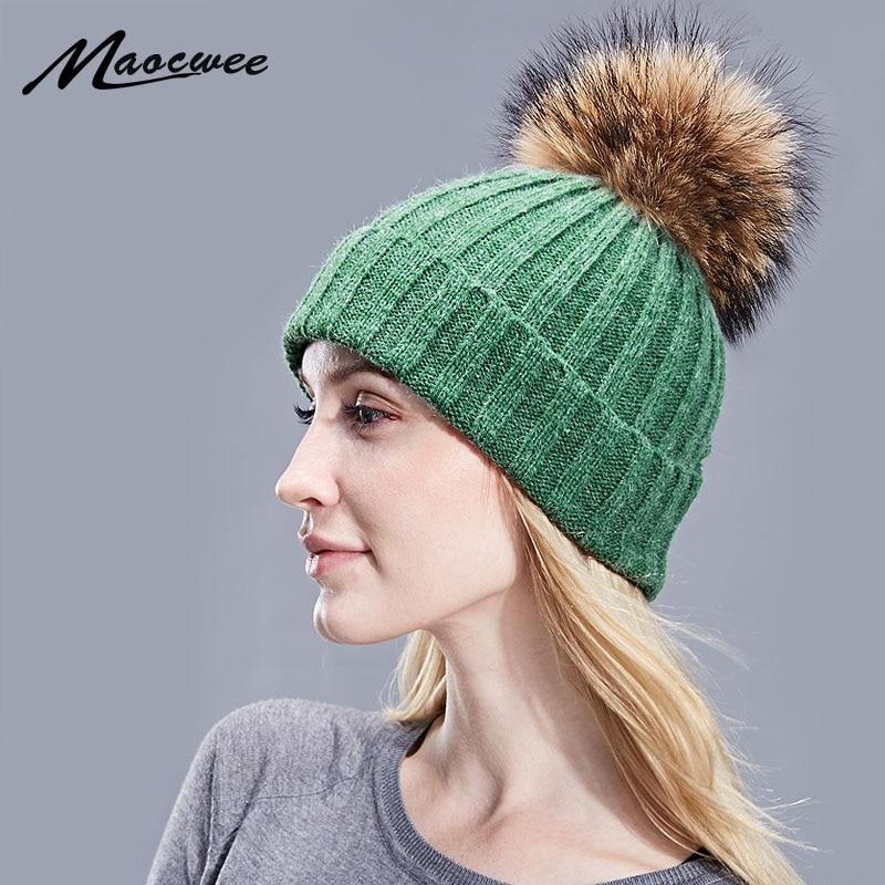 Women Real Fur Pom Pom Hat Female Autumn Winter Wool Knitted Green Skullies Beanies Girl Cap Natural Raccoon Fur Pompom Hat New