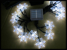 2sets/lot Solar string lights 30LED snowflake outdoor Christmas Xmas tree garden landscape holiday party decorative lamp fixture