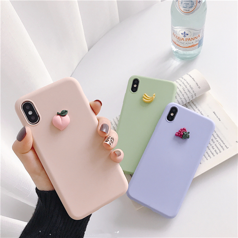 Cute 3D Fruit Banana Peach Grape Macaron Silicone Pink Phone Case For Iphone X XR XS MAX 6S 7 8 Plus For Samsung S10 S9 S8 Note