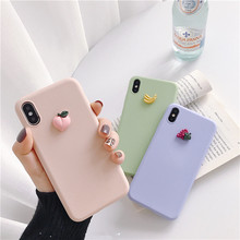 Cute 3D fruit banana peach grape silicone phone case for iphone X XR XS 11 Pro MAX 6S 7 8 plus for samsung S10 S9 S8 Note 10 9(China)