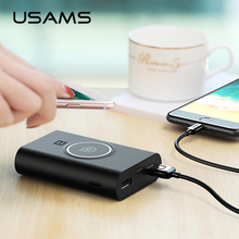 USAMS Power Bank Dual USB Ports 8000mah QI Wireless Charger 5W Pad Power Bank Built-in Wireless Charging Universal PowerBank