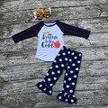 2016 новорожденных Девочек Осень бутик одежды девушки прогнивший насквозь apple outifts точка брюки корона одежды с соответствующими оголовье