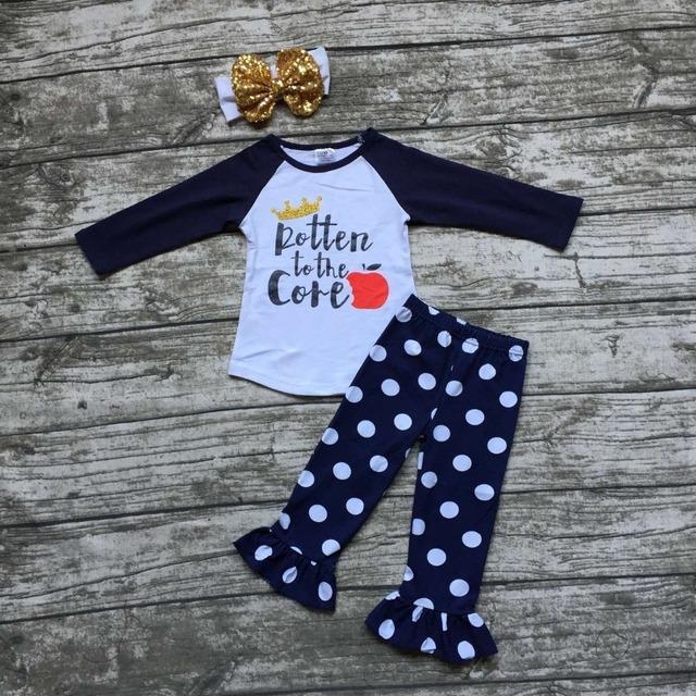 2016 Meninas do bebê Cair roupas boutique meninas podre até ao núcleo de apple outifts dot calças de roupas coroa com headband correspondência