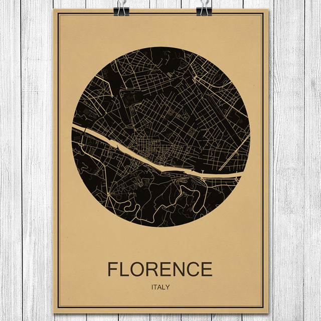 Italy FLORENCE World City Map Classic Kraft Paper Vintage Retro