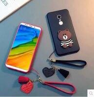 Xiaomi Redmi 5 Plus Case Fashion Silicon Cartoon Cute Bear With Creative Lanyard Phone Case For