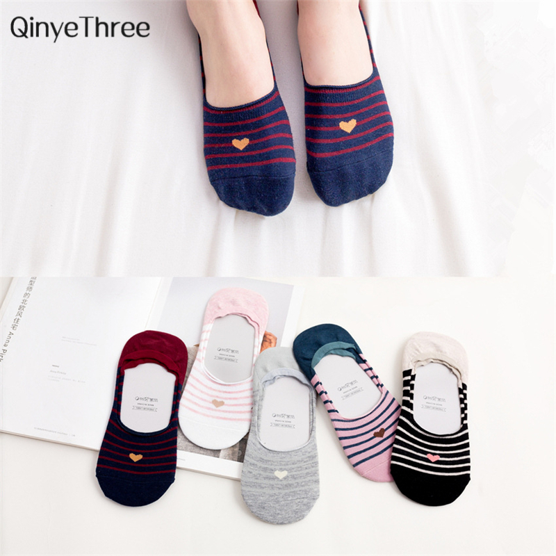 New fashion Spring Summer Red Heart with Stripe No-show   Socks   Cute College Wind Simple Basic Fresh Female Sokken Soft Cotton Sox