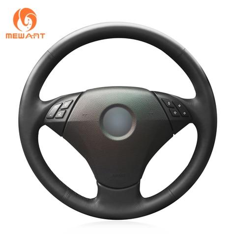 mequero capa para volante de carro em couro artificial preto para bmw e60 sedan 530d