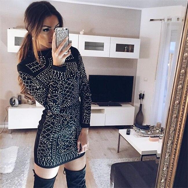 Femmes robe 2018 Promotion Polyester nouveauté a-ligne solide complet diamants réguliers Vestidos De Fiesta robe 2018 chaud femmes mode