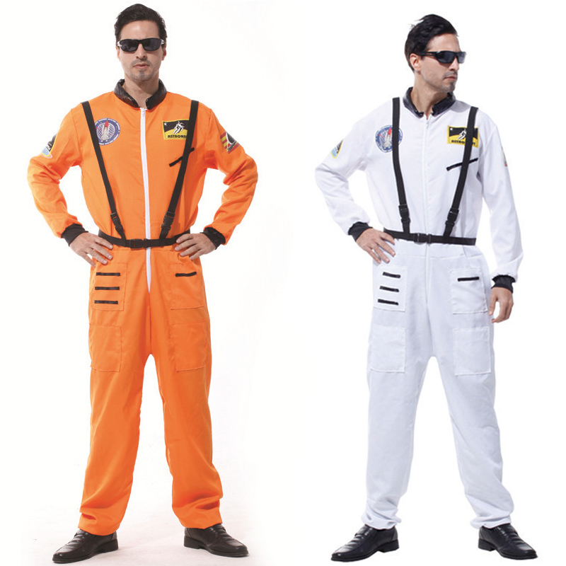 Halloween Party Astronaut Costumes For Adult Men Book Week Orange White Space Flight Polit Jumpsuit Outfit