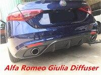 arbon fiber Rear Bumper Lip Spoiler Diffuser Cover For 17 18 Alfa Romeo Giulia 2017 2018 BY EMS