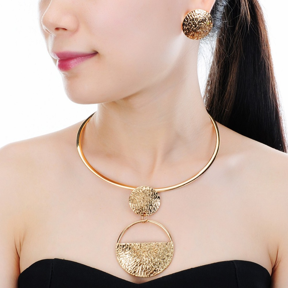 JEROLLIN Vintage Silver & Gold Color Alloy Collar Pendant Choker Earrings Necklace Jewelry Set