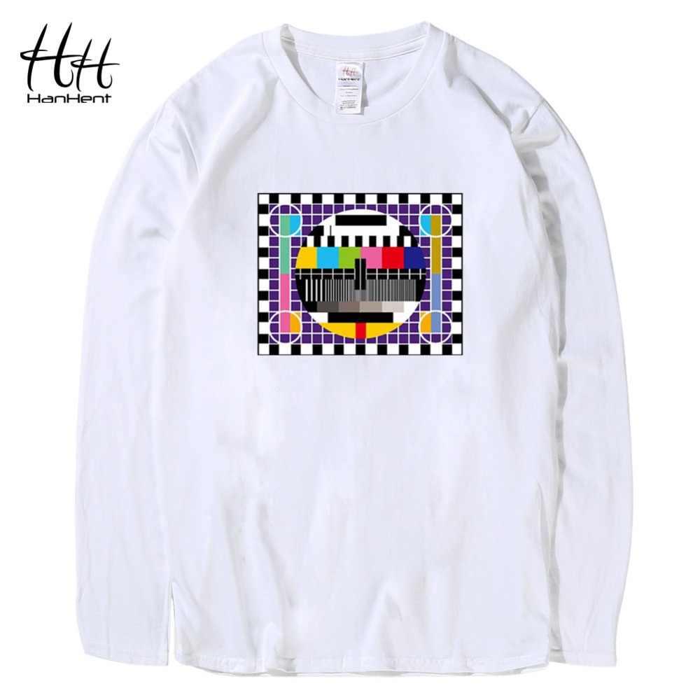 HanHent TV Test tarjeta camisetas hombres The Big Bang Theory manga larga algodón camisetas moda Otoño divertida camiseta para los hombres LT0259