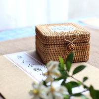 Desktop storage box handmade rattan cane Vietnam autumn portable storage box storage box jewelry box tea with zero