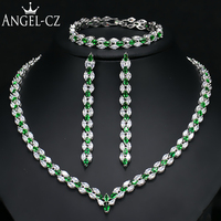 ANGELCZ Brand New Leaf CZ Wedding Necklace Earrings Bracelet for Women Indian Green Bridal Sets Fashion Crystal Jewellery AJ126
