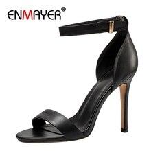 ENMAYER Casual  Genuine Leather High Heels Sandals Women Shoes Zandalias De Verano Mujer Size 34-39 ZYL2535