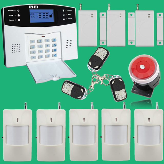 Wireless/wired Phone SIM GSM Home Burglar Security GSM Alarm System English Russian Spansih Czech Voice Prompt Alarm Sensor kit