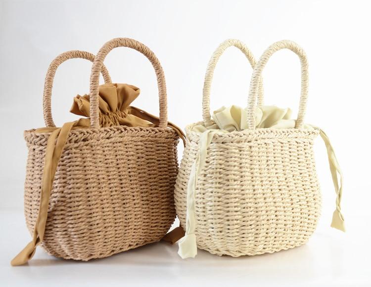 2018 Women Hand-woven Summer Pure Straw Bag Beach Handmade Woven Handbags Causal Shoulder Bags for Women Boho Shopping Tote