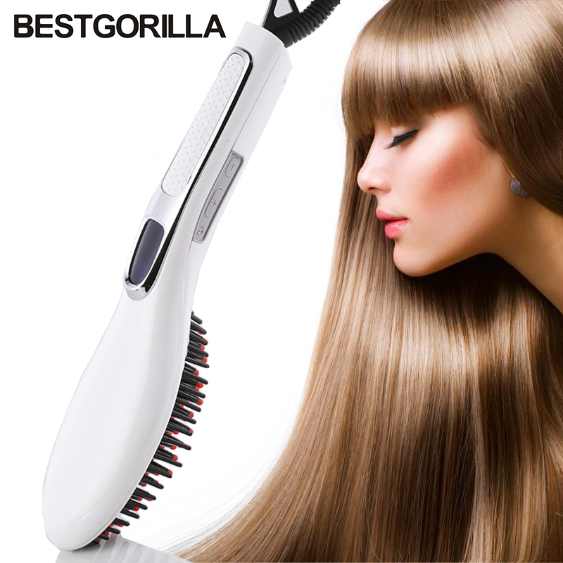 Fast Professional Ceramic Electric Hair Straightener Brush Detangling Hair Straightening Iron Comb Smooth Brush Styling Tools