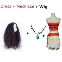 Halloween Costume For Kids Rincess Moana Costume Adult Girls Toddler With Necklace Wig Children Cosplay Christmas