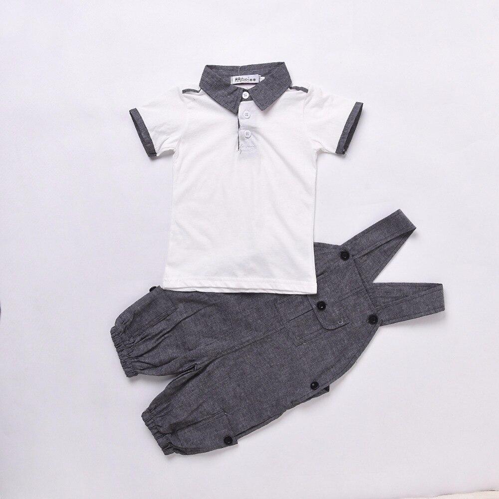 2Pcs/Set Baby Clothing Set Boys Summer Cotton Newborn Fashion Denim T-shirt+Strap Jeans Baby Boys Clothes Suit