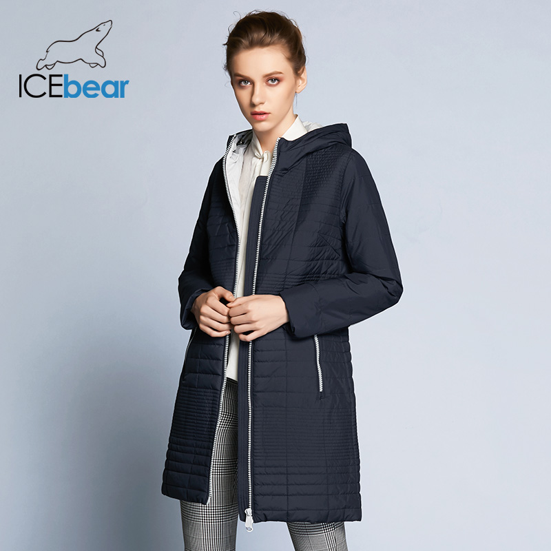 ICEbear 2018 осенняя женская ветровка с капюшоном Мода Женщины Мягкая куртка до колена 17G292D