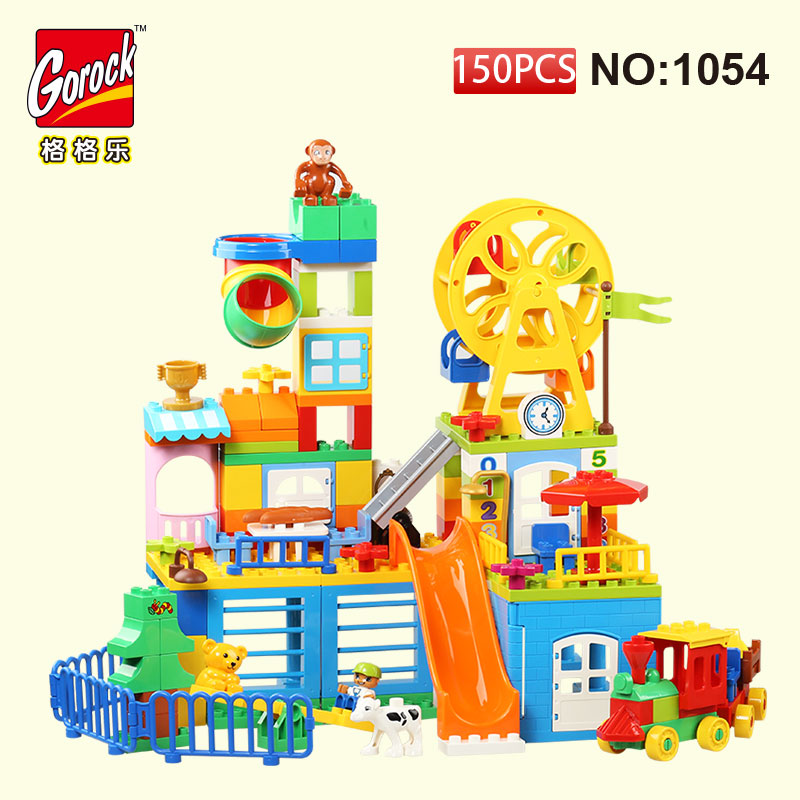 GOROCK 150Pcs Big Building Block Set Girl Educational Bricks Toys For Christmas Gift For Baby Compatible With Duploe loz 160pcs m 9338 super mario brothers building block educational boy girl gift for spatial thinking