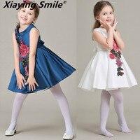Платье для девочек; сезон лето осень; детское платье принцессы; Сетчатое платье с цветочным принтом; Милая Повседневная Удобная детская оде