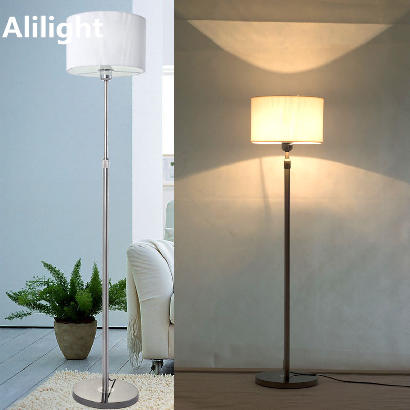 Modern Remote Control Stainless Steel Floor Lamp Dimming Fabric