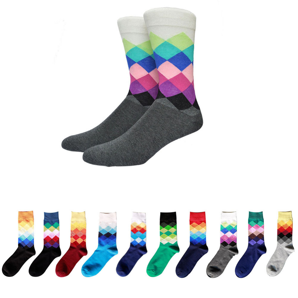 2018 Multi-color socken männer baumwolle herrensocken mit druck Männer crew Socken Baumwolle Warme Diamant Druck Casual Standard Socken