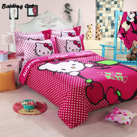 Home Textile Cute Red Apple Hello Kitty Bedding Set Cartoon Cotton Bed Linen for Children Gift Duvet Cover Flat Sheet Pillowcase