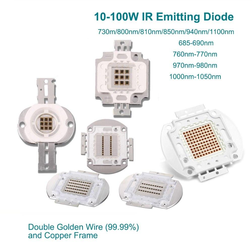 Haute puissance puce LED 10 W 20 W 30 W 50 W 100 W infrarouge 1000-1050NM SMD COB émetteur de lumière Diode composants bricolage éclairage caméras de vidéosurveillance