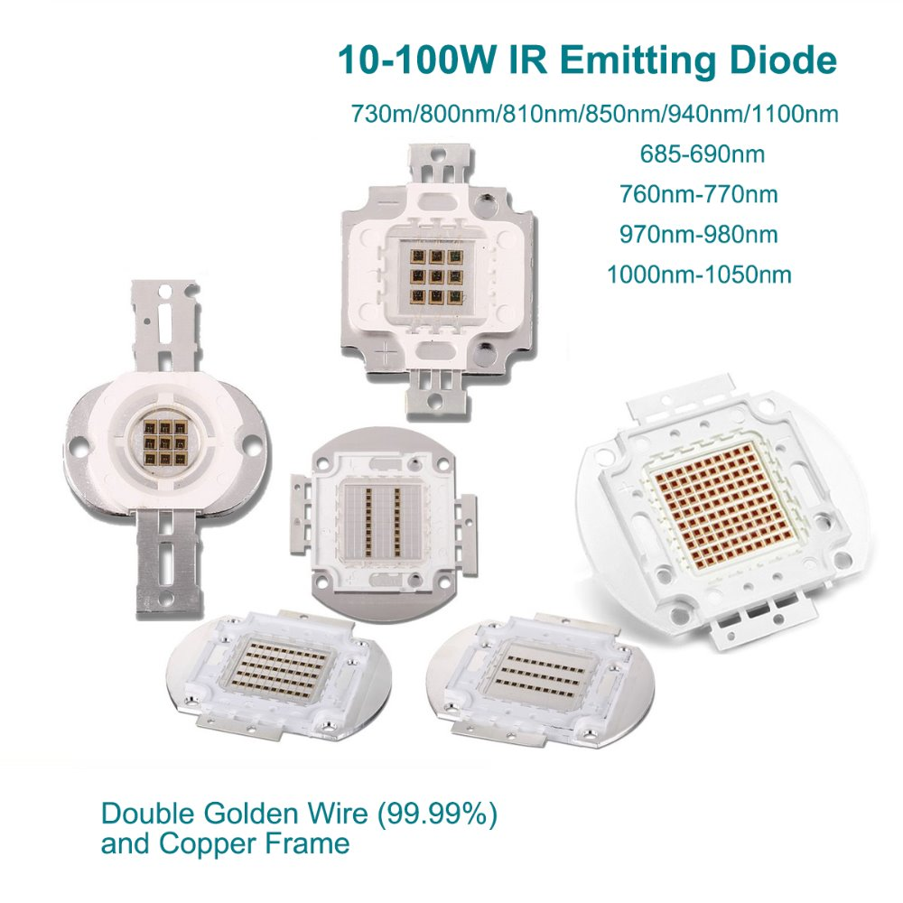 High Power Led Chip 10W 20W 30W 50W 100W Infrared 1000-1050NM SMD COB Light Emitter Diode Components DIY Lighting CCTV Cameras