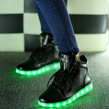 Led shoes for adults women casual shoes 2016 hot fashion Led luminous shoes men plus size men shoes