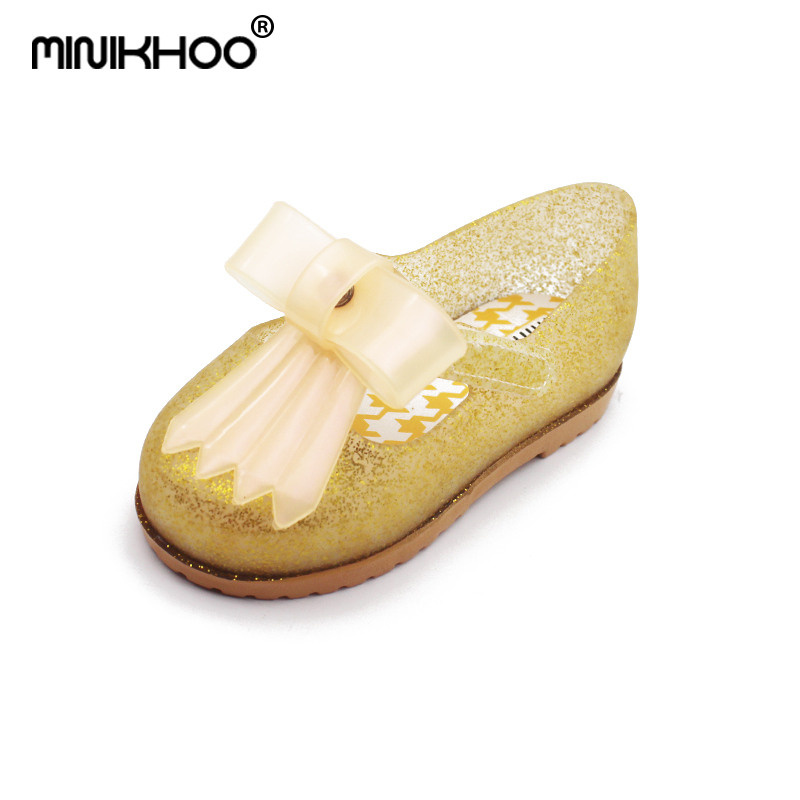 Mini Melissa Big Bow Brazil Girl Jelly Sandals 2018 Melissa Sandals Toddler Beach Sandals Non-slip Girl Water Shoes 14cm-16.5cm
