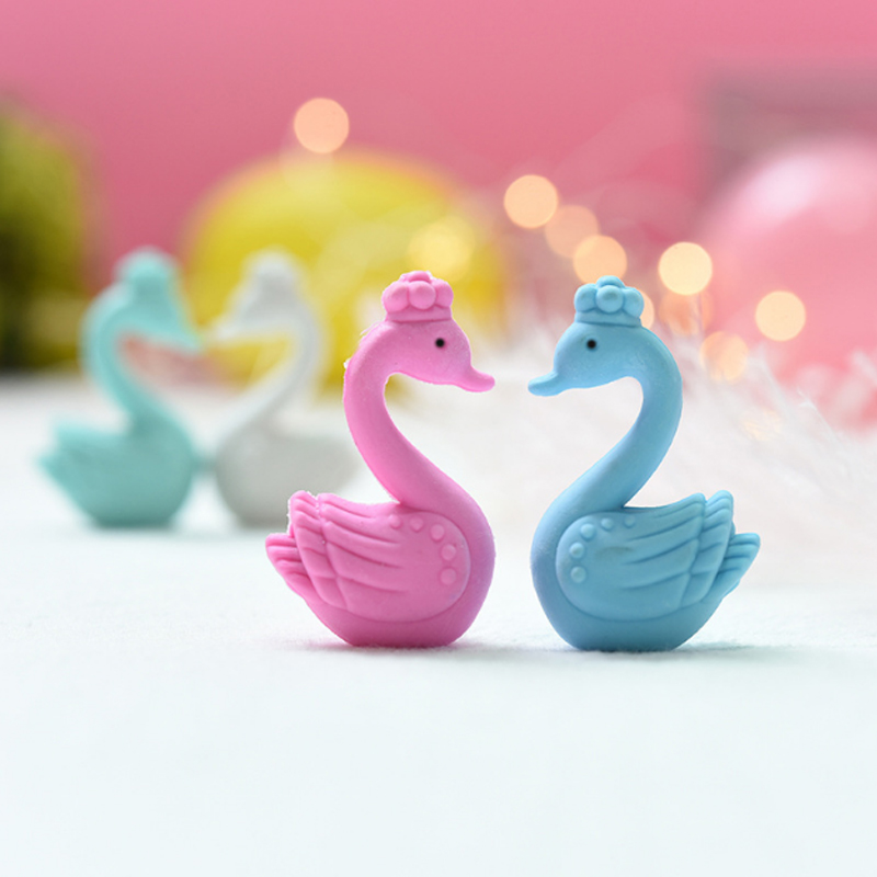 2pcs/box Swan Love Rubber Eraser Kawaii School Supplies Papelaria  Child Learning Stationery Materiale Correction Supplies