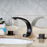 Deck Mounted Bathroom Sink Faucet Dual Hanlde Vanity Sink Mixer Tap Oil Rubbed Bronze Finished